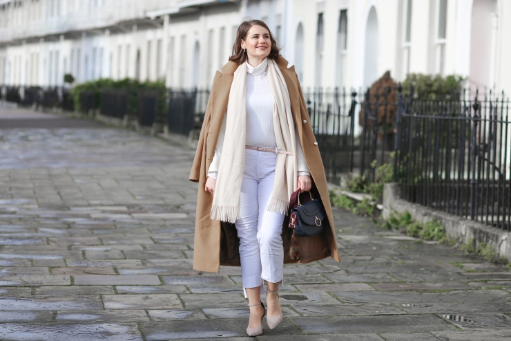 Winter white outfit and long double breasted camel coat