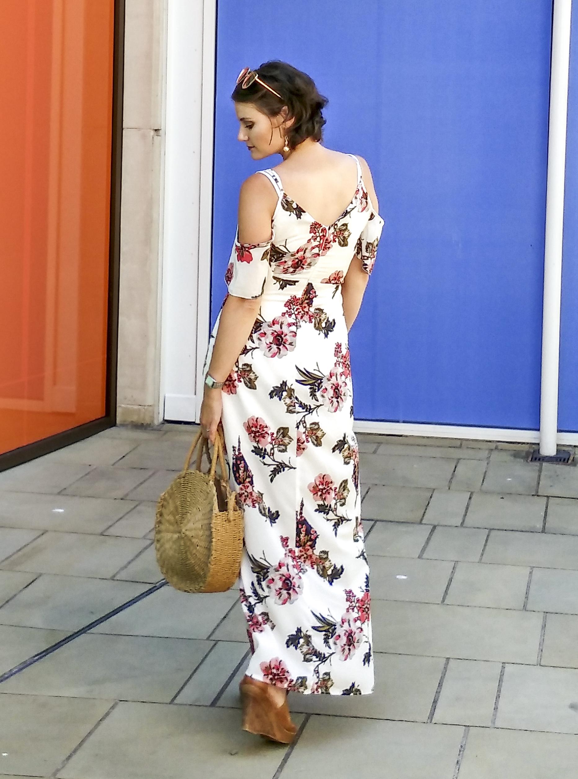 Cold Shoulder Floral Maxi Dress - breastfeeding friendly