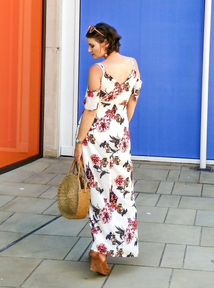 Cold Shoulder Floral Maxi Dress - breastfeeding friendly