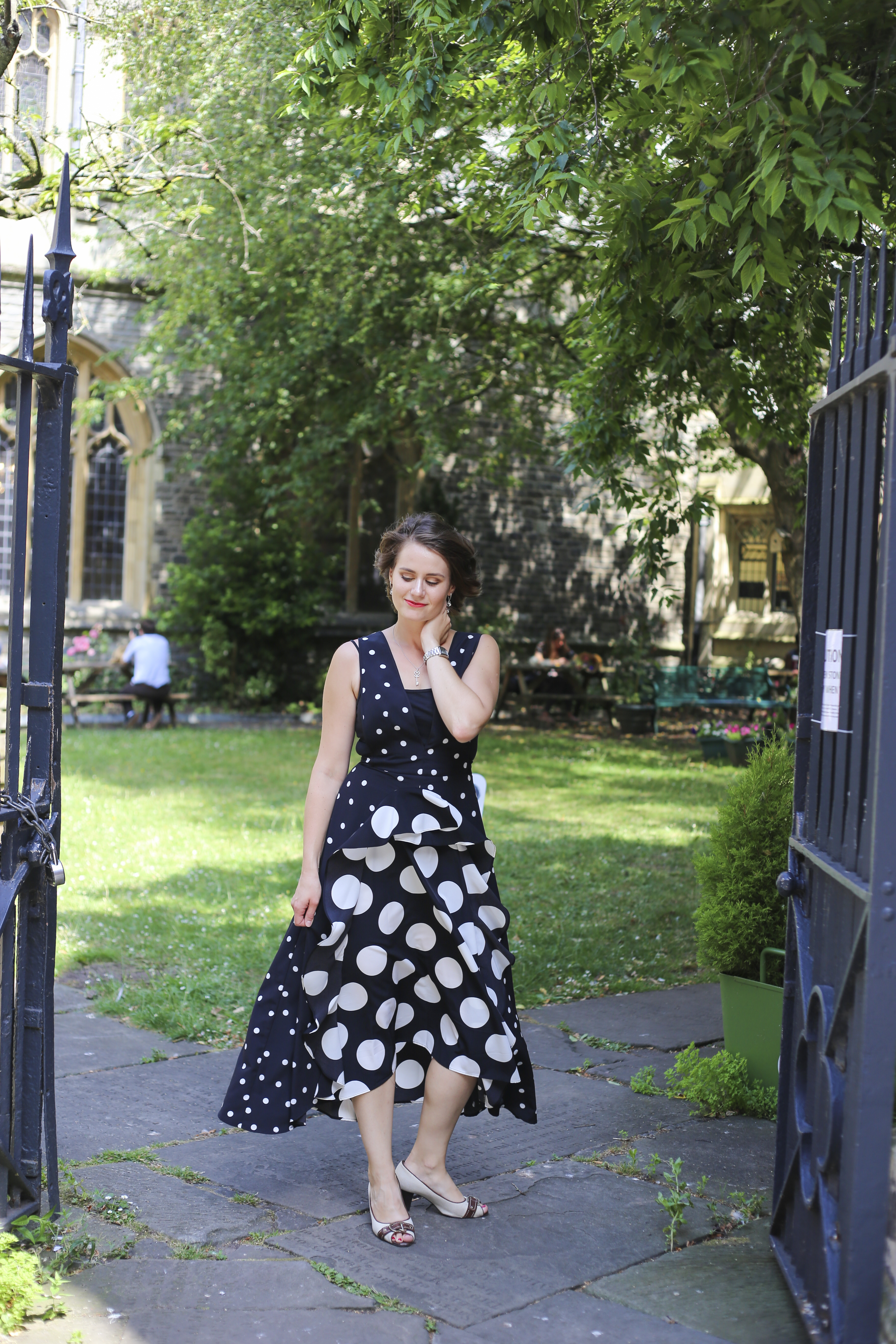 Black and white mix spotted midi dress Topshop
