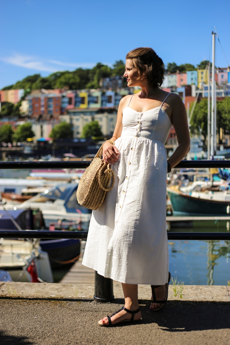 Zara button down white linen midi dress