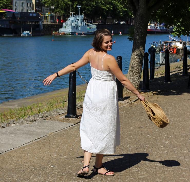 Zara button down white linen midi dress