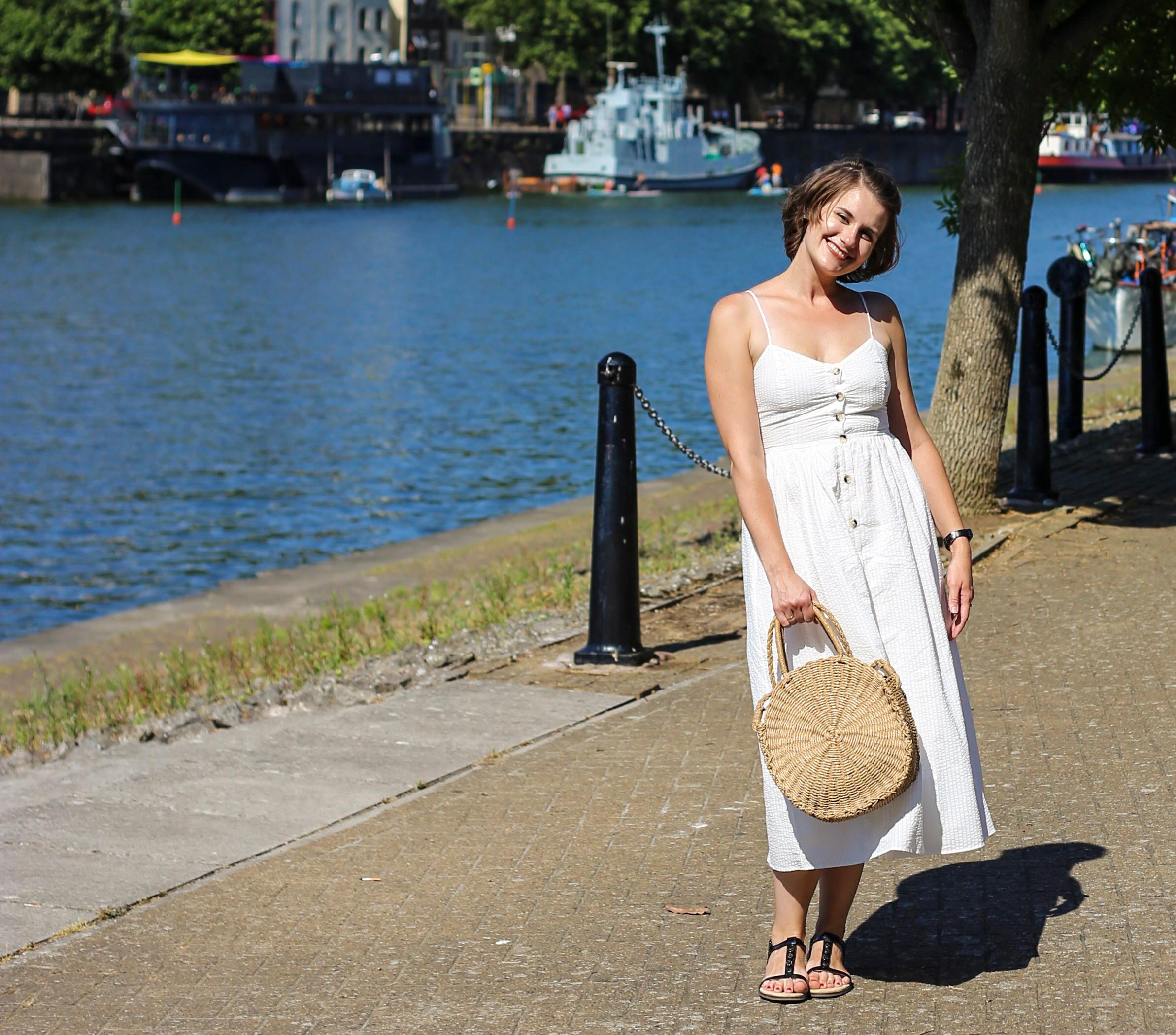 Zara button down white linen dress