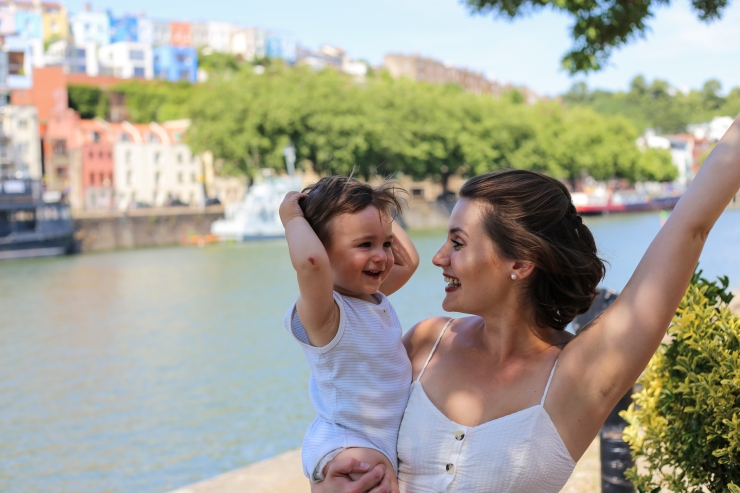 mum and son laughing
