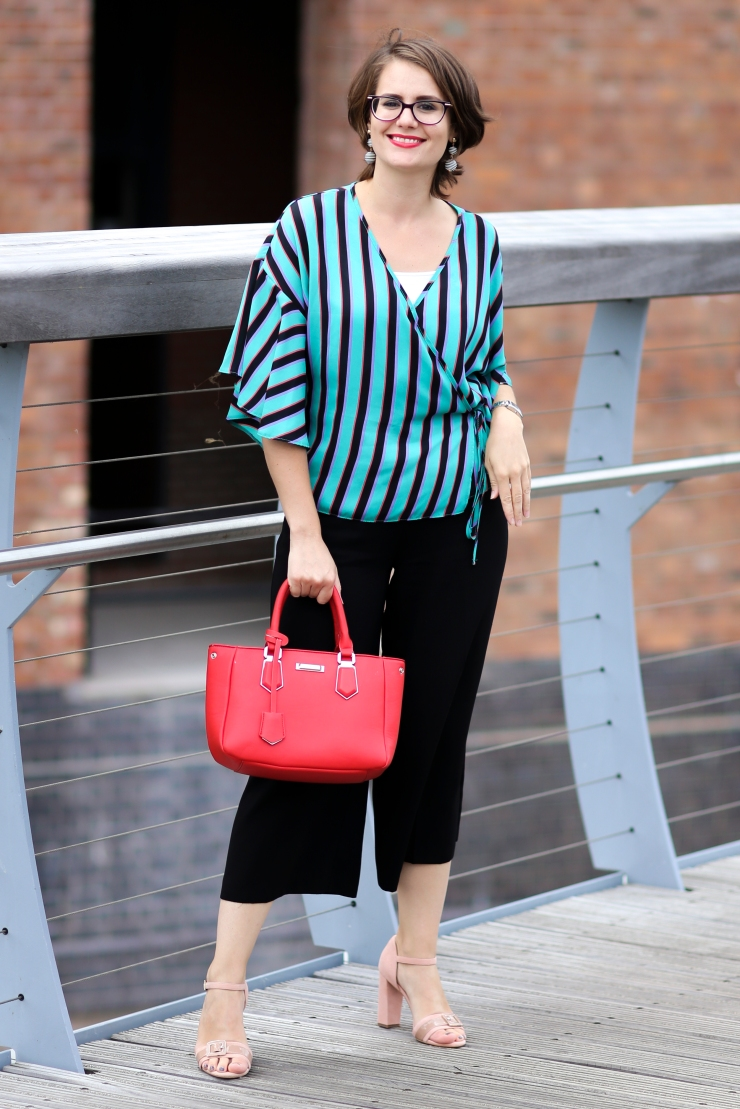 Striped blouse and wide leg cropped trousers