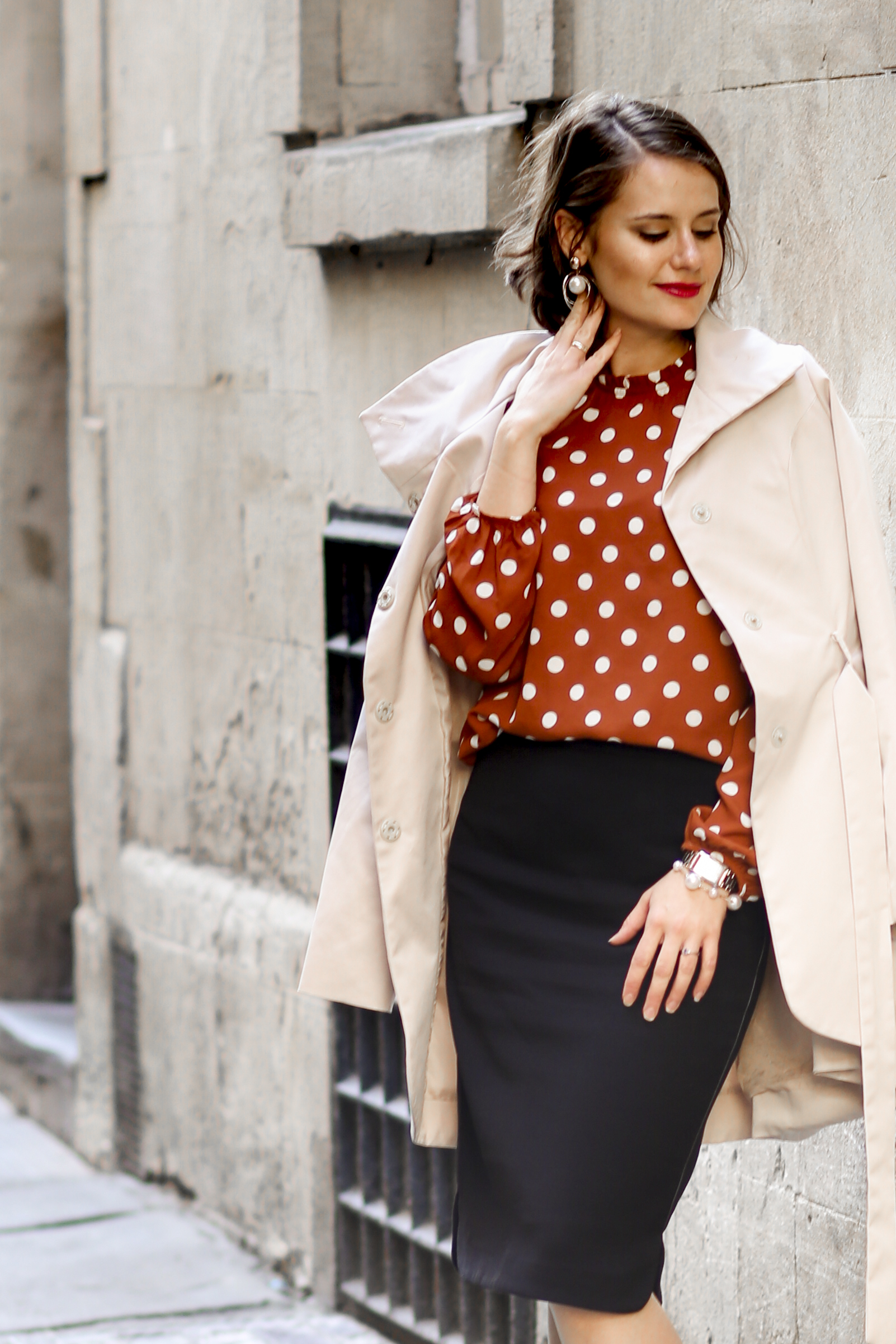 Rust polka dot blouse, black pencil skirt, beige trench coat and leopard print shoes 2