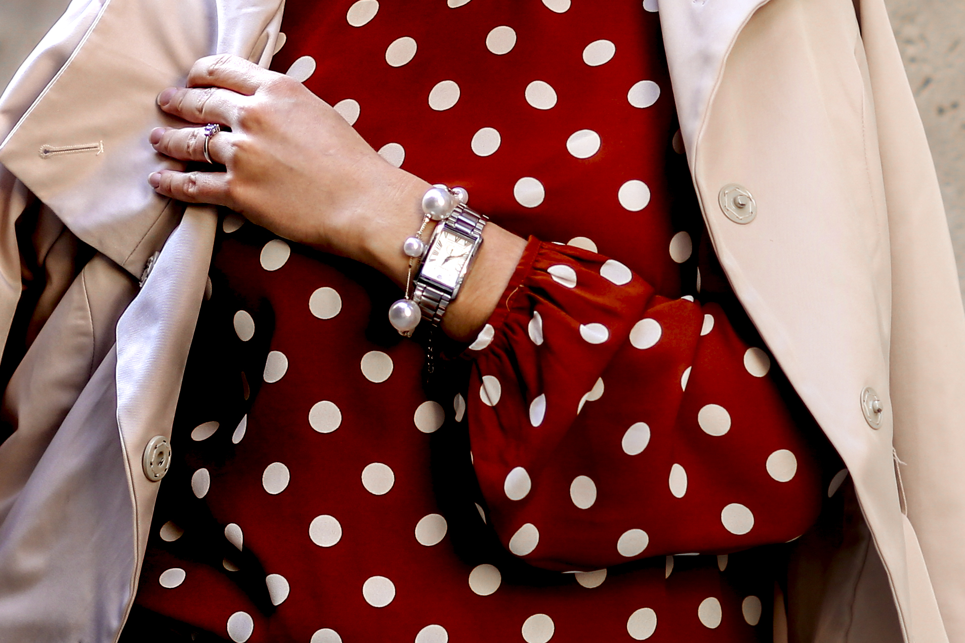 Rust polka dot blouse